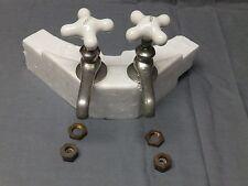 Vtg Pr Nickel Brass Separate Hot Cold Sink Faucets Porcelain Handles Old 2110-16