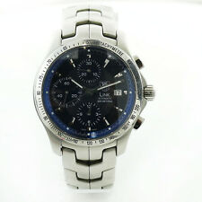 TAG HEUER LINK CJF2114 CALIBRE 16 CHRONO BLUE DIAL 200M S.S. WATCH W/BOX+PAPS