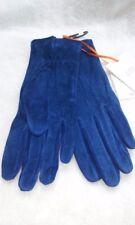 JOHN LEWIS - BNWT - Womens Cobalt Blue Suede Leather Fleece Lined Gloves S/M