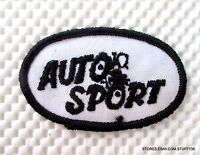 "AUTO SPORT EMBROIDERED SEW ON PATCH UNIFORM HAT SHIRT ADVERTISING 3"" x 2"""