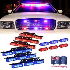 54 Red & Blue LED Emergency Warning Car Truck Strobe Lights Bar Deck Dash Grill
