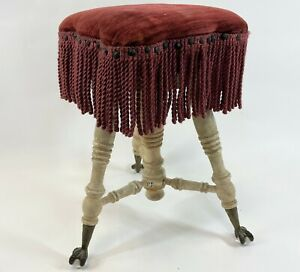 Antique Unique Painted 3 Leg Pink Fringe Cushion Ball Claw Victorian Organ Stool
