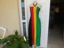 Dress Handmade Rasta Color Off Shoulder long 100% Cotton  Size M 3 XL UK 12- 18