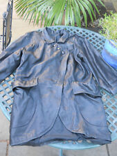 Vintage black long leather jacket size 12, possibly small 14