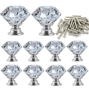 10/20 x Door Handle Diamond Crystal Clear Glass Cabinet Drawer Pull Knobs Home