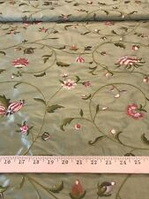 "Moss Green Floral Vines Embroidered 100% Dupioni Silk Fabric 54"" W BTY"