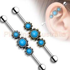 14G 38mm Turquoise Fancy Industrial Barbell Ear Ring Bar Body Piercing Jewellery