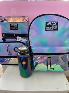 Justice Dye Effects Star Backpack L & Lunchbox & Pencil Pouch NWT + free H2O