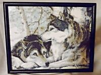 Black Framed Wall Picture of Pair of Wolves Titled Soul Mates Made With Pixels