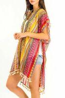 Women Summer Multi Color Beach Cover Up Cardigan Boho Kimono Chiffon Coat Blouse