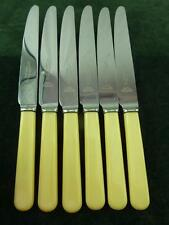 6 nice Vintage A.E Poston Dessert Side Knives Ivory Coloured resin handle