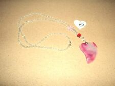 """Beautiful Natural Pink Onyx Agate Crystal Healing Heart Necklace 24"""" #110 NEW"""