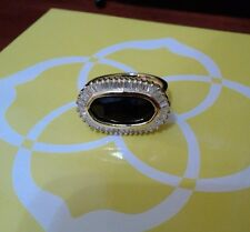 Kendra Scott Black Tourmaline Kaki Luxe Ring 7 Rare
