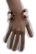 Women Gold Metal Wide Cuff Wrist Bracelet Fashion Jewelry Brown Beads Rhinestone