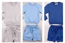Boys long sleeved round neck coord shorts blue grey navy 2-3 3-4 5-6 7-8 9-10 Yr