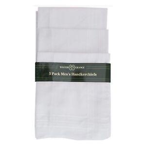 Pack of 5 Large Mens Plain White Handkerchiefs Hankies Hanky Cotton Blend