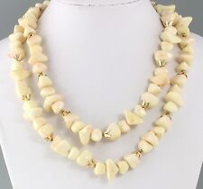 Vintage 60's Multi 2 Strand Off White & Pink Plastic Bead Necklace Hong Kong