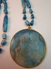 VTG Mexican Blue Onyx Pendant Necklace Hand Wired Carved Mayan Calendar Face