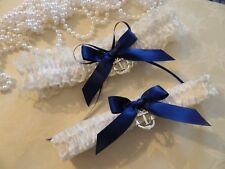 NAUTICAL WEDDING GARTER SET IVORY - ANCHOR -NAVY BOWS  - FREE ORGANZA POUCH