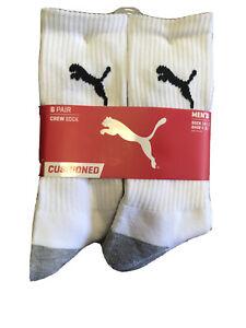 PUMA Men's Crew Cushioned Moisture Control Socks 6 Pr White/Gray/Black 10-13
