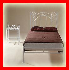 Handgearbeitet Metallbett Scarlett 90x200 mit niedrigem Fußteil+Lattenrost, weiß