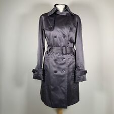 Jessica Simpson Women's Belted Silver Shiny Button Up Mac Trench Coat Size L