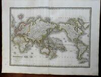 World Map Mercator's Projection 1829 Lapie large folio map