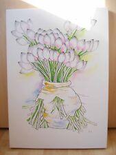 Dipinto originale tela fiori ad acquerello FIRMATO