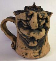 Handcrafted Grandma Face Mug Signed Stoneware Pottery Face Mug Funny Signed