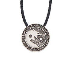 Norse Vikings Wolf Pendant Necklace Runes Amulet Fashion Mens  Jewelry Alloy