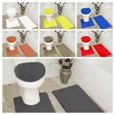3Pc Bathroom Set Rugs Contour Mat Toilet Lid Cover Solid Colors Embroidery Mats