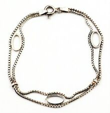 925 Sterling Silver Box Chain Bracelet with Oval Inserts Fine Jewellery