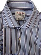 TM LEWIN 100 Shirt Mens 15.5 M Light Blue – Dark Blue & White Stripes SLIM FIT