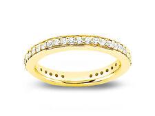 0.59ct Diamond Wedding Band Ring Pave 18k Yellow Gold Round Brilliant Cut I SI2