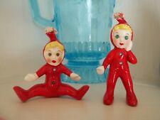 Vtg Rare Kreiss? Red Ceramic Pixies/Elves Blonde Hair/Rhinestone Eyes Buttons