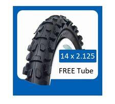 14x2.125 Black bicycle tyre + tube mountain bike child cycle 2.125