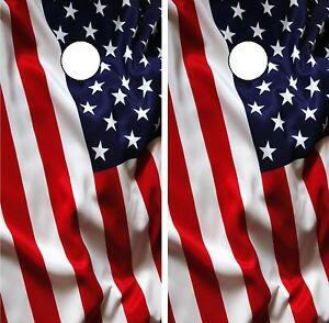 C193 American Flag Cornhole Board Wrap LAMINATED Wraps Decals Vinyl Sticker