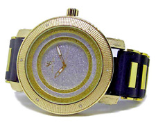 Men's 3D Designer Face Faux Diamond Gold Plated Rubber Strap HipHop Bling Watch