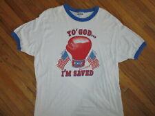 vtg 70s 80s YO GOD I'M SAVED RINGER T SHIRT Boxing USA Patriotic Jesus Rocky LG