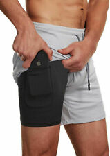 Gray Men's Gym Shorts Training Bodybuilding Workout Running Fitness Pants Sports
