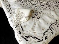 "Elaborate Antique Madeira Embroidery Linen Tablecloth 12 Napkins 70x104"""