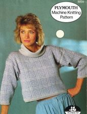 Plymouth Machine Knitting Pattern M54 Ladies Short Waisted Cowl Neck Sweater