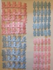 Pink/Blue Satin Baby Bottle/Teddy Bear Embellishments 100pcs