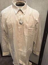 Seidenstiker Creation Shirt Dress Shirt Beige Striped Mens Size 43 R