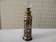 Thin Empty Glass Perfume Scent Bottle Butterfly Floral Pattern