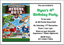 10 Transformers Rescuebots Birthday Invitations with Envelopes A6