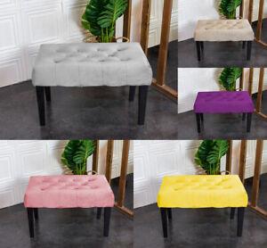 Velvet Dressing Bench Stool Chair Vanity Stool With Rustic Look Legs