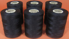 6 Black Strong Nylon Sewing Thread Spools *Large 200meters Heavy Duty Spools
