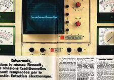PUBLICITE ADVERTISING 064  1972  RENAULT    les révisions diagnostic ( 2 pages)