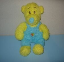 "14"" Bright Yellow Teddy Bear Stuffed Plush Animal Blue Spring Egg Overalls"